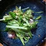 まぐろ処 - 水菜と鯵のあえもの