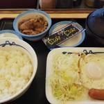 松屋 - ソーセージエッグ牛皿定食 (税込)400円(2019.01.23)