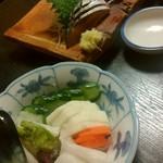 和泉屋 - 青魚3点盛り¥680- おしんこ