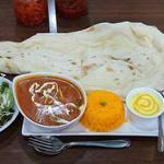 100650564 - Asian Dining & Bar New Maharaja @ときわ台 ランチセット 日替りランチ 税込700円 おくらチキンカレー 辛口でドリンクはラッシーを選んで