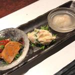 100661551 - 季節の前菜3点盛                          ・あん肝ポン酢                          ・キタアカリのポテトサラダ                          ・蟹真薯(温)