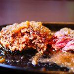 ステーキ。山 - ビッグステーキ・ハンバーグ断面
