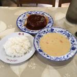 レストラン香港 - ポタージュスープ、ライス、ハンバーグ('19/01/25)