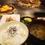 お好み焼き・鉄板焼き よしもと - お好み焼き定食(イカ玉)