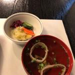 鰻割烹 伊豆栄 - 肝吸いにお漬物  肝が割と大きく立派なもの♬