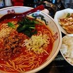 ラーメン サカモト - 麻辣担担麺+大盛り+餃子セット+温泉玉子