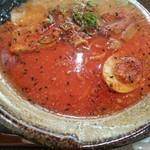 越後秘蔵麺 無尽蔵 - 七味とラー油投下!