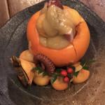 ひょうたん池 - タコと柿の酢味噌和え
