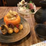 ひょうたん池 - タコと柿の和え物と刺身盛合せ