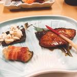 鮨・割烹 花絵巻 - 鰤照り焼き、白子、牡蠣のベーコン巻き(^^)