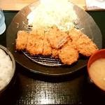 ゆうたく - ゆうたく@帯広 ろーす・ひれかつ定食(1100円)