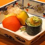 日本料理 たかむら - 一品  岡山産 黄ニラ、アメーラトマト、黒皮南瓜、秋田産 ずわい蟹の磯辺巻