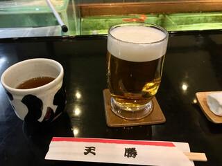 天勝 本店 - ビールは2杯