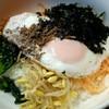 長崎 - 料理写真:【ビビンバ】の具は以下の7種 目玉焼き・ナムル4種(ほうれん草・人参・もやし・大根)・挽き肉・海苔