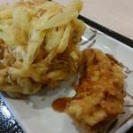 丸亀製麺 - 野菜かきあげ、かしわ天