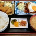 つくば屋 - 日替り定食(カキフライ・ハンバーグ)ドリンク付(1000円)