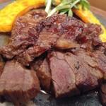 蕎麦と鶏 はんさむ - 日替わり定食のB牛ハラミステーキ1,180円アップ