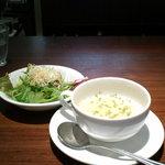 10088410 - ランチについてくるサラダとスープ