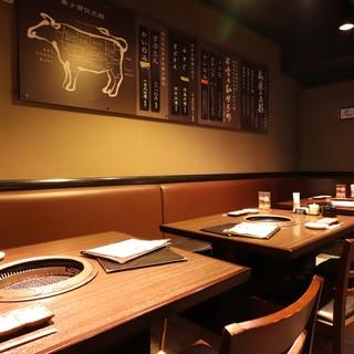 全席テーブル席。ゆったりした空間で焼肉が楽しめます!