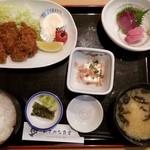 おさかな食堂 - カキフライ定食(お刺身付き)(1100円)