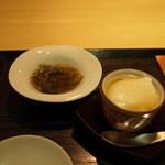 100906879 - 前菜:美の自家製豆腐・もずく酢