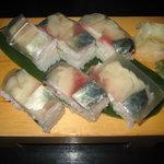 やよい鮨 - 名物さば押しずし 1000円(ガリ、しそ入りもできます)
