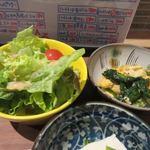 チロル食堂 - サラダの横手にはもう一品、玉子とほうれん草の炒め物が添えられてました。