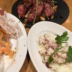 MiKiya's ぐりぐり - 牛ハラミのグリル、タコのマリネ、さきいかと明太子の揚げ物