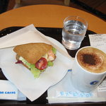 エクセルシオール カフェ - 料理写真:モーニング Bセット(エビとツナタマゴ / カプチーノ) 400円
