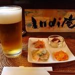 インディ庵 - 料理写真:生ビール&お通し。
