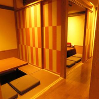 2階半個室でゆっくりと4名、6名、10名様ご利用可能です。