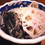 れんこんと季節の青菜のおひたし