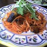 1010160 - エビとナスの辛口トマトスパゲッティ