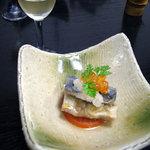 草太郎庵 - リンゴ梅酒と秋刀魚の南蛮漬