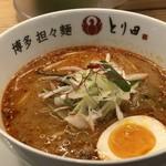 博多担々麺 とり田 - 特製博多担々麺(小盛:650円)・・麺は多分半量かと。辛さは同じく3辛にしましたが、私には辛くて。(^^;)