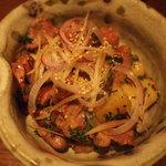 ねじ式 - 砂肝とジャガイモのペペロンチーノ
