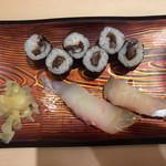 きづなすし - かんぴょう巻、シマアジ、金時鯛