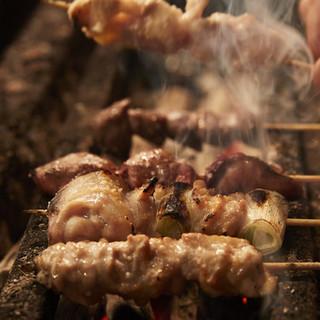 本格備長炭で美味しく焼き鳥調理します!