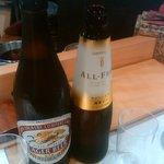 弁天山美家古寿司 - ビールはラガーが米が入ってて好きです、かみさんは妊婦なのでノンアルコール