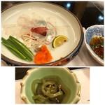 割烹 かじ - ◆2~3分で「ふぐ刺し」と「おきゅうと」が出されます。 おきゅうと(海藻)は好みませんのでパス。