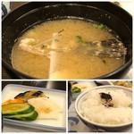 割烹 かじ - ◆虎魚のお味噌汁・・虎魚は好きですしこのお値段で頂けると楽しみにしたのですが、身は殆どなく骨ばかり。>< お出汁には旨みが出ているのかも。 ◆ご飯の質は普通。 ◆香の物の種類が多いのは嬉しい。