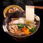 花山うどん - 鬼ひも川(温、麦豚)