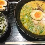 肥後もっこす - 熊本ラーメン 明太子ご飯セット 980円