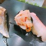 101075421 - 炙りさば、赤貝ひも、金目鯛①