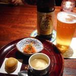 ユメキチ 神田 - お通し、ノンアルコールビール