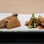 味あら井 - 2019.1 揚げ盛り(慈姑チップ、牡蠣の蕎麦揚げ、長芋、蕗の薹、筍)