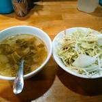 コシード - 料理写真:ランチタイムつく葉っぱと大根or蕪のスープとキャベツ?とレタスのサラダ自家製ドレッシング。器は丼。