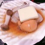 新宿 ふぐ一郎 - ホタテの貝焼きあっぷ