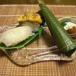 千松しま - 鯊と海鞘の寿司と粽。