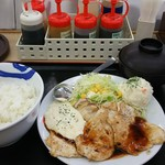 松屋 - 鶏タルささみステーキ定食ポテサラ付き